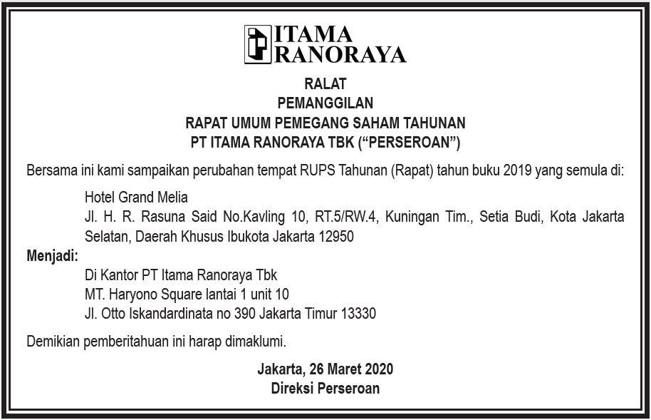 Ralat Pemanggilan RUPS PT Itama Ranoraya Tbk.