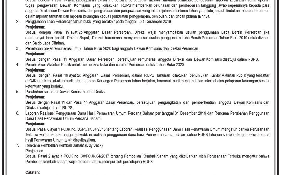 Pemanggilan RUPS Tahunan PT Itama Ranoraya Tbk.