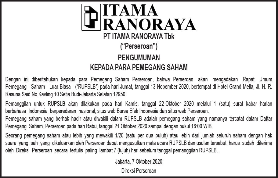 Pengumuman RUPSLB PT Itama Ranoraya Tbk.